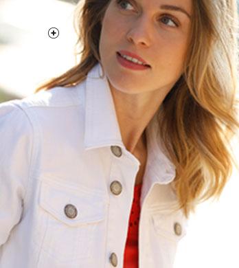 Wit verwassen jeansjasje met knopen - COLORS & CO® - goedkoop - Blancheporte