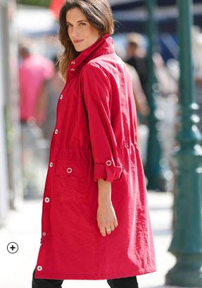 Rode parka met ingewerkte kap en lange mouwen, waterafstotend - goedkoop - Blancheporte