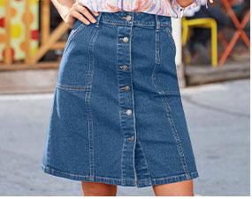 Blauwe jeansrok in halflang recht model met knopen en zakken - goedkoop - Blancheporte
