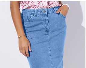 Blauwe jeansrok in halflang, afslankend, rekbaar model met rechte onderkant en zakken - ISABELLA® - goedkoop - Blancheporte
