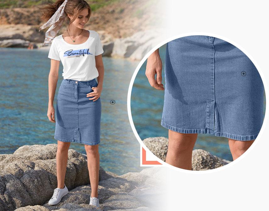 Blauwe jeansrok in halflang recht model met split voor en zakken, eco-verantwoord - Oeko-Tex® - goedkoop - Blancheporte