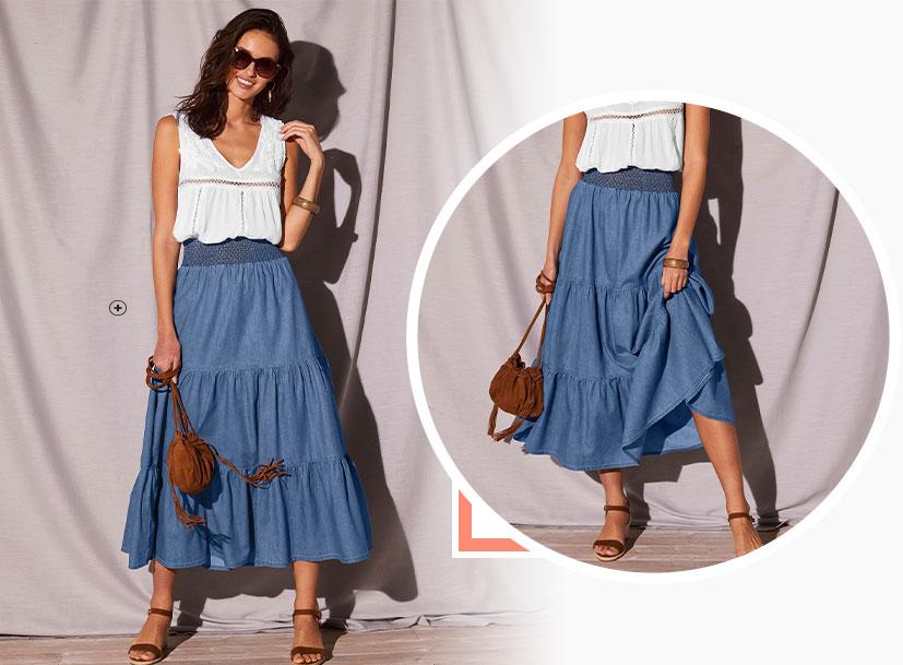 Lange, lichte jeansrok met stroken en tailleband met smokwerk in katoen - goedkoop - Blancheporte