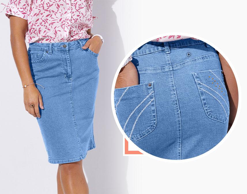 Lange, lichte fronsrok in jeans met stroken en tailleband met smokwerk in katoen - goedkoop - Blancheporte