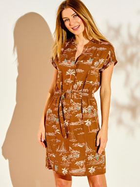 Korte bruine jurk met korte mouwen, tropische print en ceintuur, goedkoop - Blancheporte