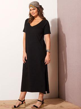 Lange zwarte jurk met korte mouwen en V-hals in katoenjersey voor grote maten Isabella®, goedkoop - Blancheporte