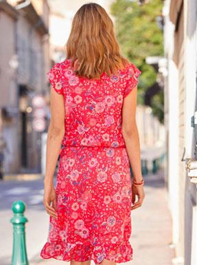 Halflange rode jurk met bloemenprint, korte mouwen en stroken, goedkoop - Blancheporte