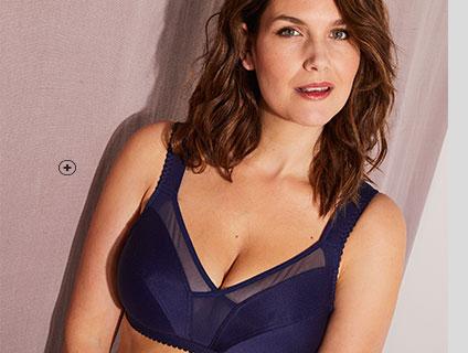 Soutien-gorge sans armatures bleu minimiseur grande taille Isabella® pas cher - Blancheporte