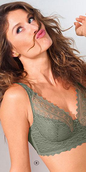 Soutien-gorge avec armatures vert kaki forme foulard dentelle Confidence Lingerie® pas cher - Blancheporte