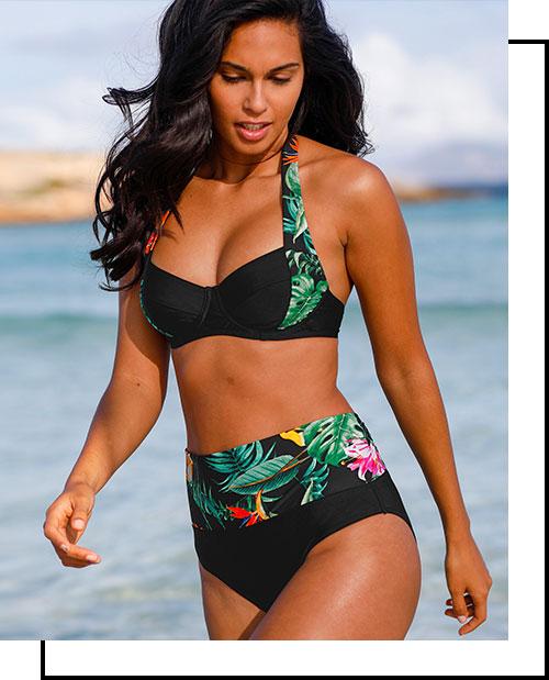 Zwarte bikini met beugels, tropische print, modellerend aspect en omplooibare tailleband, goedkoop - Blancheporte