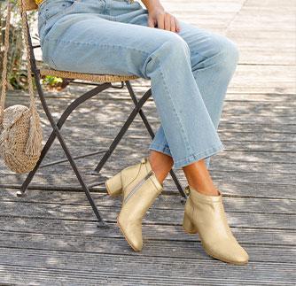 Goudkleurige boots in metallic leer met brede hak, goedkoop - Blancheporte