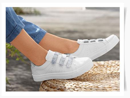 Zilverkleurige sneakers met scratchriempjes en glitters, goedkoop - Blancheporte