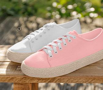 Witte sneakers met sleehak en koordzool, goedkoop - Blancheporte
