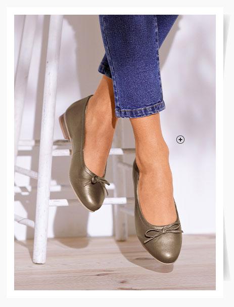 Bronskleurige ballerina's met hakje en strikje in leer, goedkoop - Blancheporte