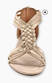 Goudkleurige platte sandalen met vlechtwerk, goedkoop - Blancheporte