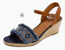Blauwe sandalen in etnische stijl met sleehak en franjes, goedkoop - Blancheporte