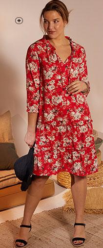 Robe mi-longue rouge fluide volantée imprimé fleuri col volanté manches 3/4 grande taille Isabella® pas cher - Blancheporte