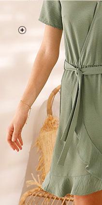 Robe courte verte kaki volantée effet cache-coeur  manches courtes avec ceinture pas cher - Blancheporte