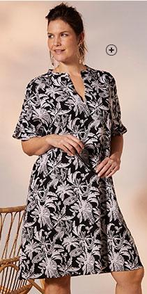 Robe mi-longue noire et blanche imprimée jungle manches courtes volantées grande taille Isabella® pas cher - Blancheporte