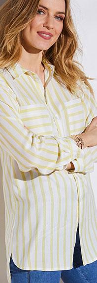Chemise blanche et jaune rayée manches longues Colors & Co® pas cher - Blancheporte