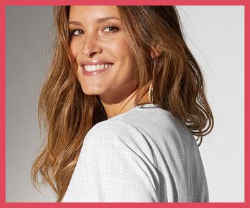 Lang effen wit hemd met 3/4-mouwen in katoen met linnenaspect, goedkoop - Blancheporte