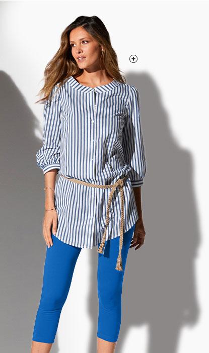 Lang wit-blauw gestreept hemd met 3/4-mouwen en ronde hals in katoen, goedkoop - Blancheporte