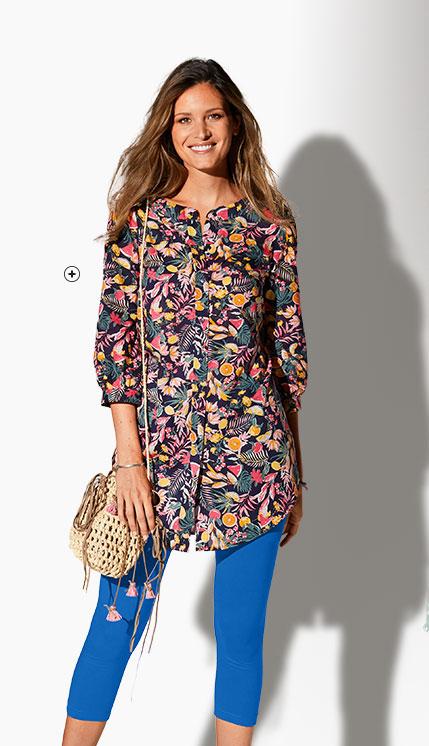 Lang blauw hemd met  veelkleurige bloemenprint, 3/4-mouwen en ronde hals in katoen, goedkoop - Blancheporte