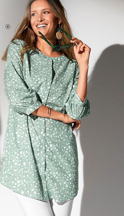 Lang groen hemd met bloemenprint, 3/4-mouwen en ronde hals in katoen, goedkoop - Blancheporte