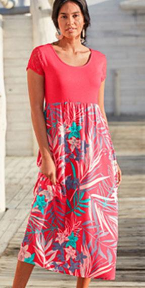 Lange rode jurk met bloemenprint, korte mouwen en ronde hals in soepele materialen, goedkoop - Blancheporte