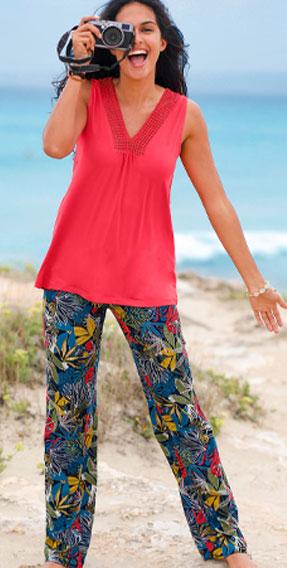 Blauwe en kakigroene broek in soepele creponstof met tropische print, recht model en elastische tailleband, goedkoop - Blancheporte