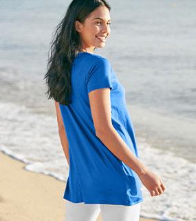 Blauwe tuniek met grafische print, V-hals en korte mouwen, goedkoop - Blancheporte