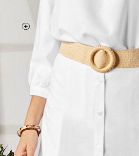 Witte lange rok met knopen en zakken Colors & Co®, goedkoop - Blancheporte