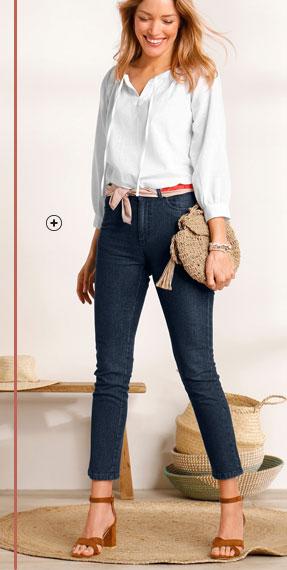 Effen witte bloes met knooplintje aan de hals en lange mouwen in katoen, goedkoop - Blancheporte