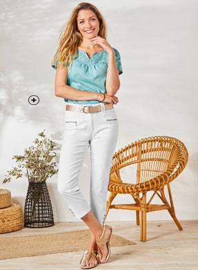 Rechte 7/8-broek in witte jeans met ritszakken en knopen aan de pijpen Colors & Co®, goedkoop - Blancheporte