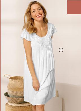 Witte halflange jurk met macramé, ronde hals en strookmouwen, goedkoop - Blancheporte