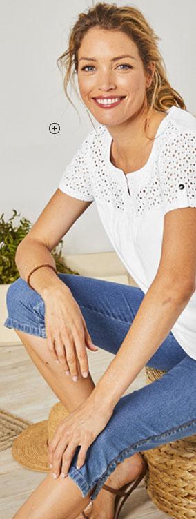 Wit T-shirt met korte mouwen en frontje van broderie anglaise in katoen Colors & Co®, goedkoop - Blancheporte