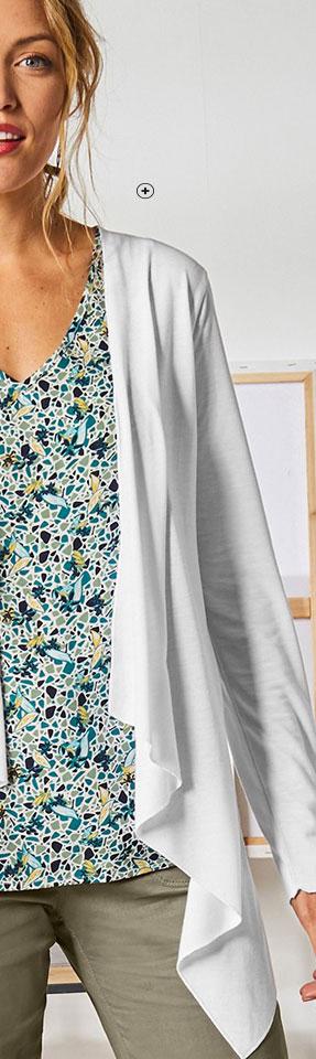 Wit soepel vest met lange mouwen en uitlopend model Colors & Co®, goedkoop - Blancheporte