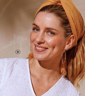 Effen wit topje met strookmouwen en V-hals in katoen, Coeur au Sud®, goedkoop - Blancheporte