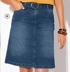 Jupe en jean denim courte bleue en jean spécial petites coupe droite Colors & Co® pas cher - Blancheporte