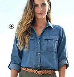 Chemisier en jean denim bleu léger boutonnée manches 3/4 col chemisier pas cher - Blancheporte