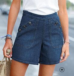 Short en jean denim bleu foncé stretch confortable boutonné avec poches coupe évasée pas cher - Blancheporte
