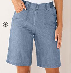 Bermuda femme en jean denim bleu clair élastique en coton pas cher - Blancheporte