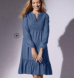 Robe mi-longue en jean denim bleue volantée légere manches longues col V coton pas cher - Blancheporte