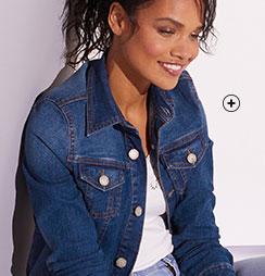 Veste en jean denim délavé bleu foncé manches longues Colors & Co® pas cher - Blancheporte