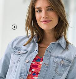 Veste en jean denim délavé bleu clair manches longues Colors & Co® pas cher - Blancheporte
