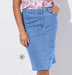 Jupe en jean denim mi-longue bleue clair amincissante extensible coupe droite grande taille Isabella® pas cher - Blancheporte