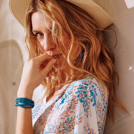 Lange witte jurk met splitten, bloemenprint, korte mouwen en V-hals Coeur au Sud®, goedkoop - Blancheporte