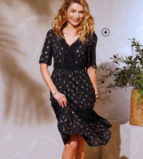 Lange zwarte jurk met goudkleurige print, V-hals en 3/4-mouwen in katoenvoile en kant Coeur au Sud®, goedkoop - Blancheporte