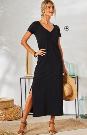 Lange zwarte stretchjurk met split, korte mouwen en V-hals Colors & Co®, goedkoop - Blancheporte