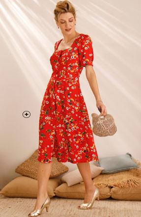 Halflange rode jurk met bloemenprint, ceintuur en vierkante hals, goedkoop - Blancheporte