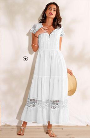 Lange witte jurk met stroken, macramé, V-hals, knopen en korte mouwen, goedkoop - Blancheporte